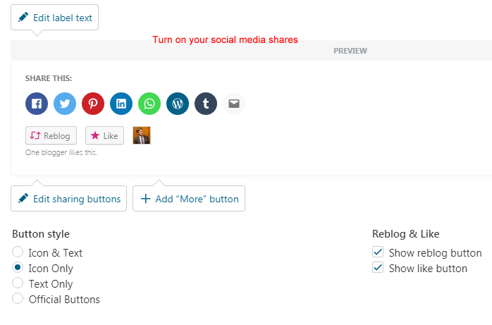 How to turn on WordPress social shares
