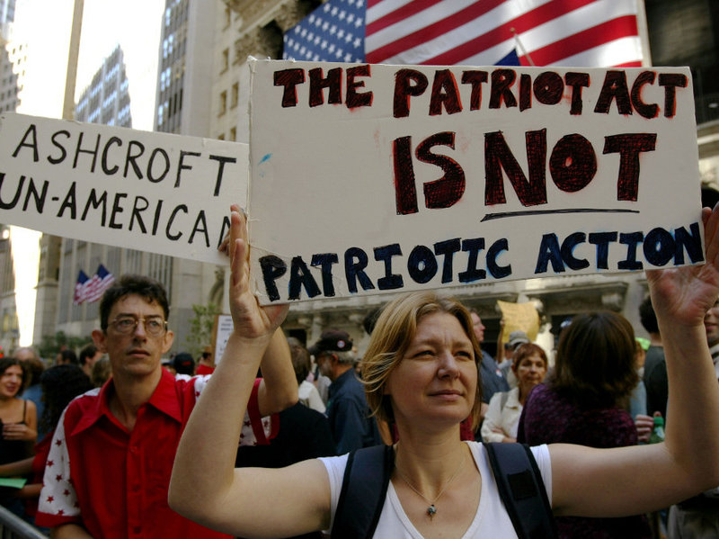 patriot-act demonstrating
