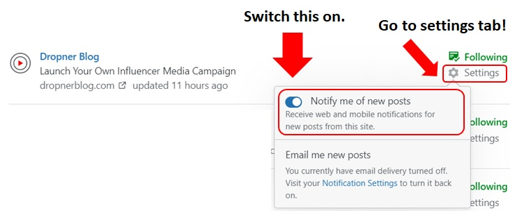 WordPress notify tab